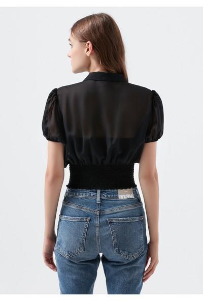 Mavi Kadın Beli Büzgülü Siyah Crop Bluz