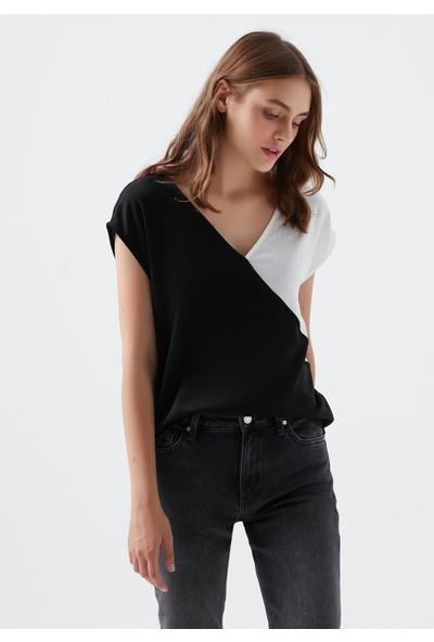 Mavi Kadın V Yaka Blok Renkli Bluz