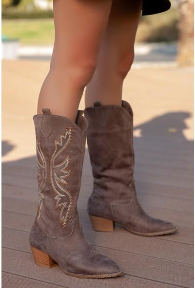 Muggo ILK04 Kadın Nakışlı Kovboy Çizme
