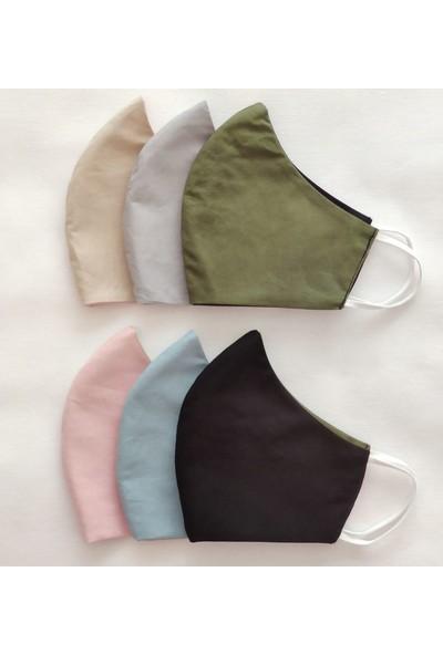 3D Product Sale Bayan Maske, 3 Adet, Yıkanabilir, %100 Pamuklu, Çift Taraflı,