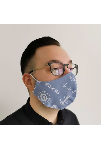 3D Product Sale Erkek (L) Bez Maske, 3 Adet, %100 Pamuklu, Yıkanabilir, Çift Taraflı Kullanım