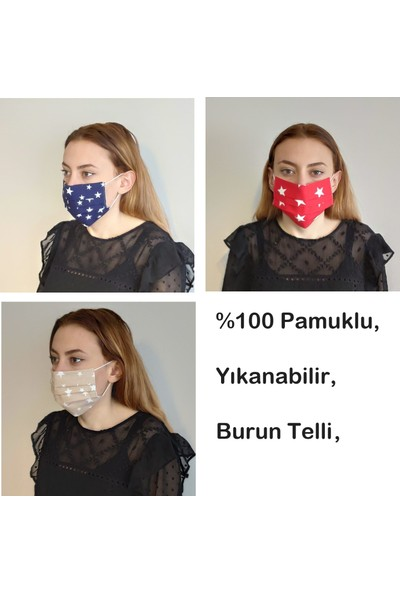 3D Product Sale Bez Bayan Maskesi, 3 Adet %100 Pamuklu, Yıkanabilir, Telli