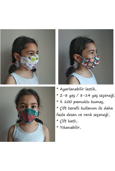 3D Product Sale Unisex 2-8 Yaş Bez Çocuk Maskesi, 3 Adet, %100 Pamuklu, Yıkanabilir,