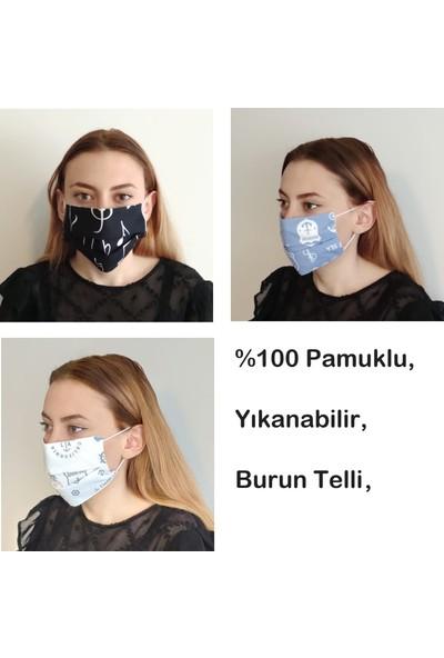 3D Product Sale Unisex Bez Maske, 3 Adet, %100 Pamuklu, Yıkanabilir, Burun Telli,