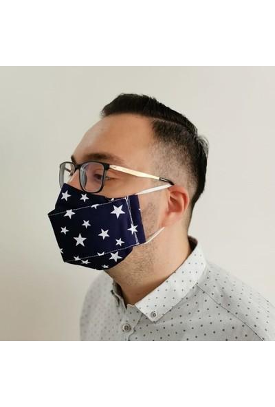 3D Product Sale Erkek (L) Bez Maske, 3 Adet, %100 Pamuklu, Yıkanabilir, Çift Taraflı Kullanım,