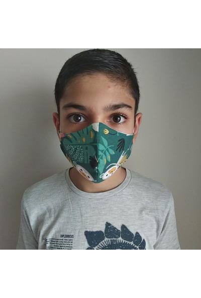 3D Product Sale Unisex 8-14 Yaş Bez Çoçuk Maskesi, 3 Adet, %100 Pamuklu, Yıkanabilir,