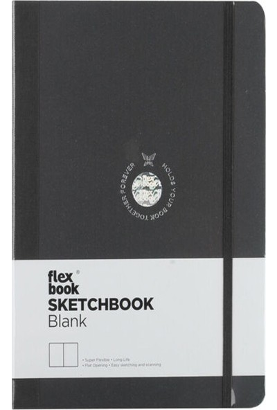 Flex Book Esnek 15,5X21,5 Cm. Siyah Şeritli Çizgisiz Eskiz Defteri 28