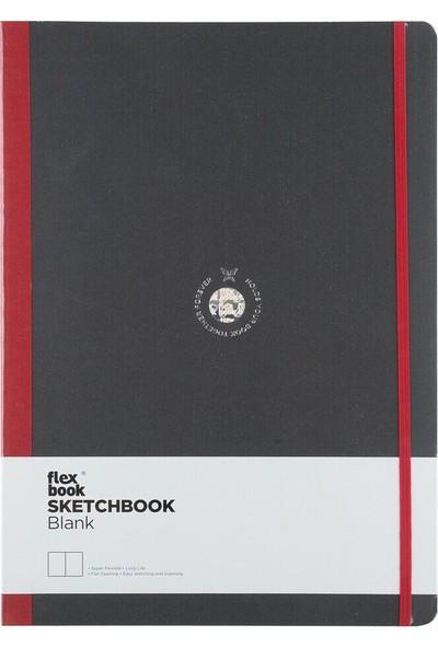 Flex Book Esnek 22X31 Cm. Kırmızı Şeritli Çizgisiz Eskiz Defteri 27