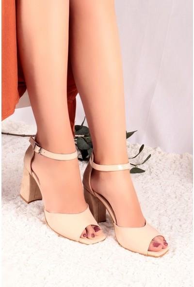 Hayalimdeki Ayakkabı Aida Cilt-Süet Krem Topuklu Sandalet