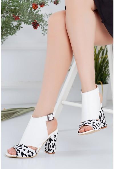 Hayalimdeki Ayakkabı Betty Topuklu Beyaz Cilt Sandalet