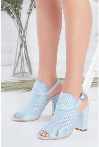 Hayalimdeki Ayakkabı Brisha Bebe Mavisi Süet Topuklu Sandalet