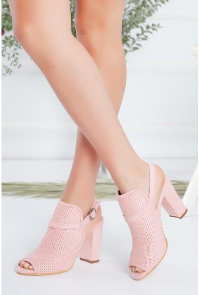 Hayalimdeki Ayakkabı Brisha Pudra Süet Topuklu Sandalet
