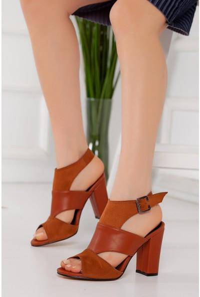 Hayalimdeki Ayakkabı Cassie Topuklu Kahve Cilt-Süet Sandalet
