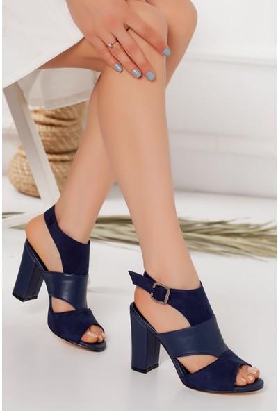 Hayalimdeki Ayakkabı Cassie Topuklu Lacivert Cilt-Süet Sandalet