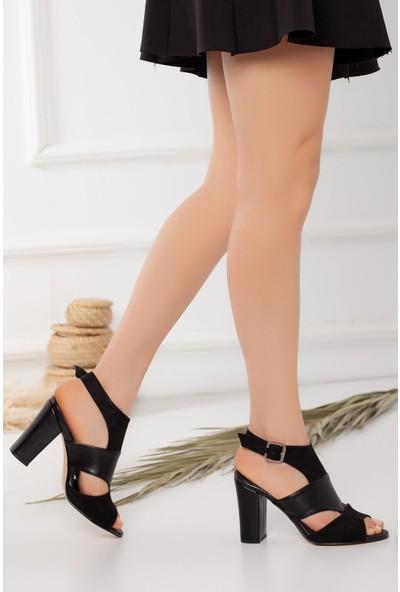 Hayalimdeki Ayakkabı Cassie Topuklu Siyah Cilt-Süet Sandalet