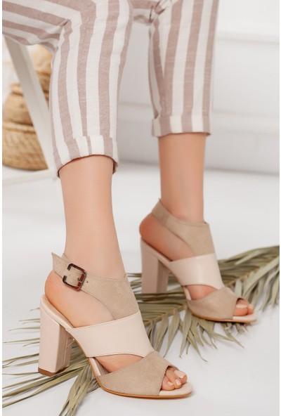 Hayalimdeki Ayakkabı Cassie Topuklu Ten Cilt-Süet Sandalet