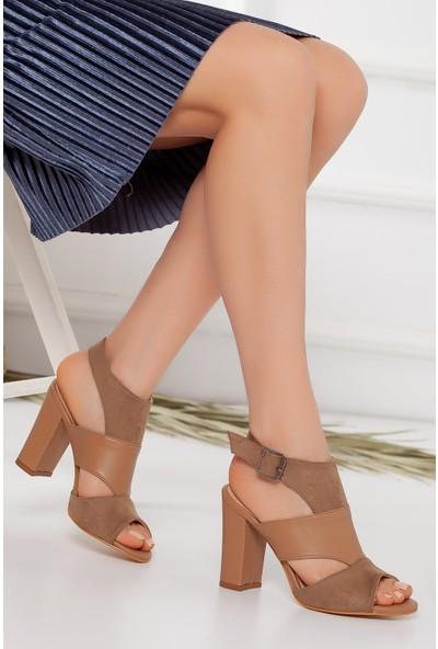Hayalimdeki Ayakkabı Cassie Topuklu Vizon Cilt-Süet Sandalet