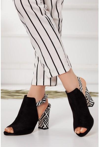 Hayalimdeki Ayakkabı Chloe Topuklu Siyah Süet Kilim Detaylı Sandalet