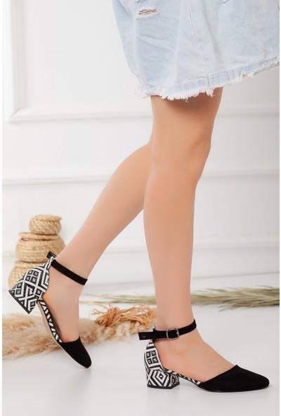 Hayalimdeki Ayakkabı Dary Topuklu Siyah Kilim Detay Süet Ayakkabı
