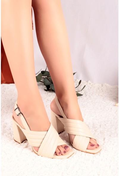 Hayalimdeki Ayakkabı Della Krem Cilt Topuklu Sandalet