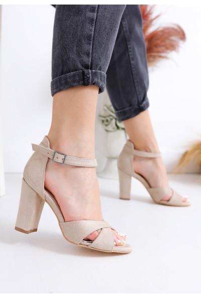 Hayalimdeki Ayakkabı Jany Topuklu Ten Süet Ayakkabı