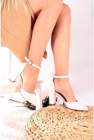 Hayalimdeki Ayakkabı Joyce Beyaz Rugan Topuklu Ayakkabı