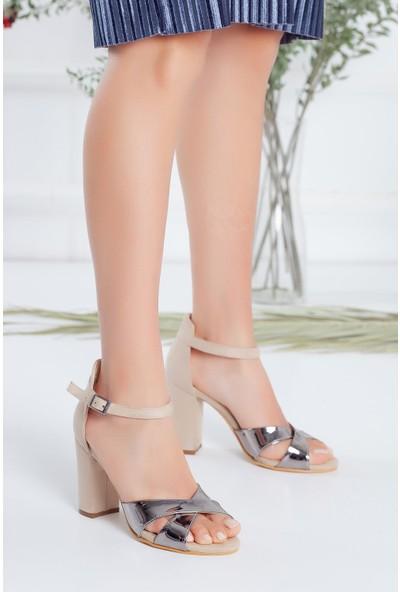 Hayalimdeki Ayakkabı Lily Gümüş-Vizon Rugan-Süet Topuklu Ayakkabı