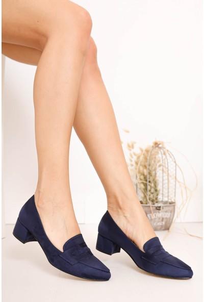 Hayalimdeki Ayakkabı Luna Topuklu Lacivert Süet Ayakkabı