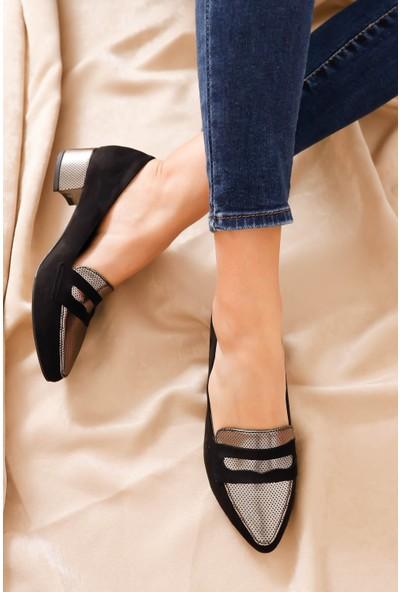 Hayalimdeki Ayakkabı Mia Topuklu Siyah Süet Platin Detay Ayakkabı