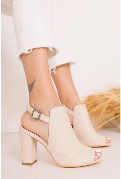 Hayalimdeki Ayakkabı Quinn Topuklu Krem Cilt Ayakkabı