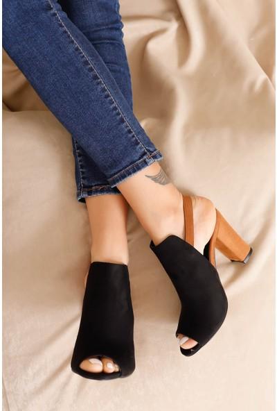 Hayalimdeki Ayakkabı Quinn Topuklu Siyah-Taba Süet Ayakkabı