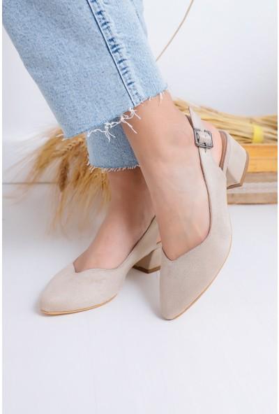 Hayalimdeki Ayakkabı Valentina Topuklu Ten Süet Ayakkabı