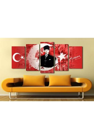 Tesbihane 5 Parça Ay Yıldız Temalı Mustafa Kemal Atatürk Tablo