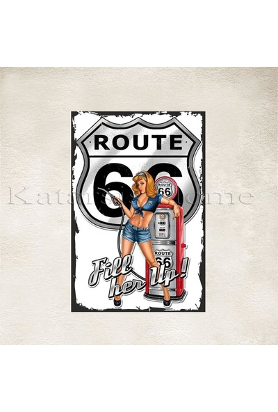 Katarsis Route 66 Baskılı Ahşap Poster 1