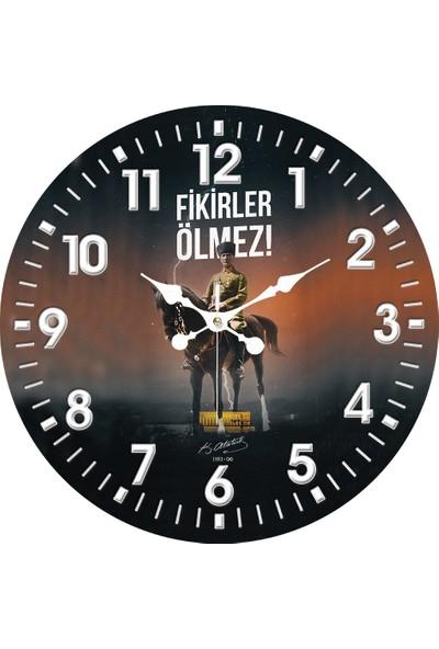 Platin Saat 35 cm Ahşap Mdf Gazi M. Kemal Atatürk Duvar Saati