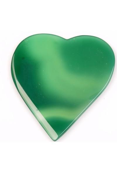 Taş Sandığı Yeşil Akik Taşı Kalp Kütle