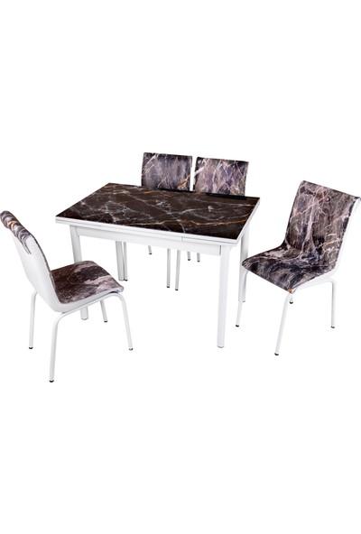 Sweet Home Smart Açılır Cam Masa Siyah Mermer 4 Adet Monopetli Sandalye Takım