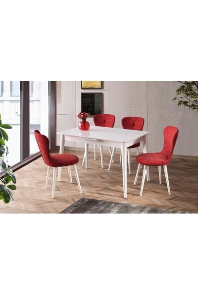 Sweet Home Açılır Venüs Beyaz Masa 4 Adet Loren Sandalye Nubuk Kırmızı Takım
