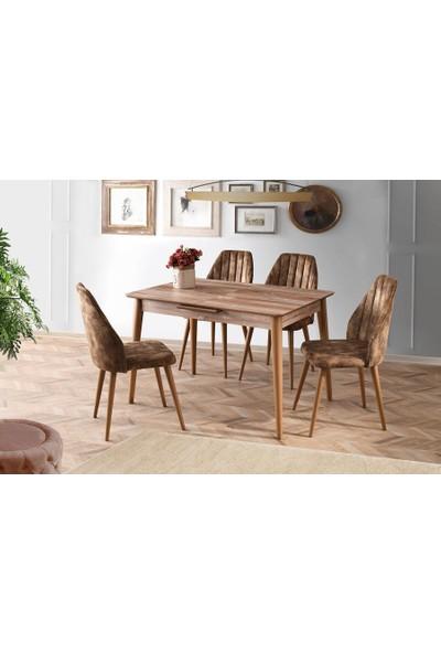 Sweet Home Açılır Venüs Patik Masa 4 Adet Defne Sandalye S.kumaş Kahve Takım