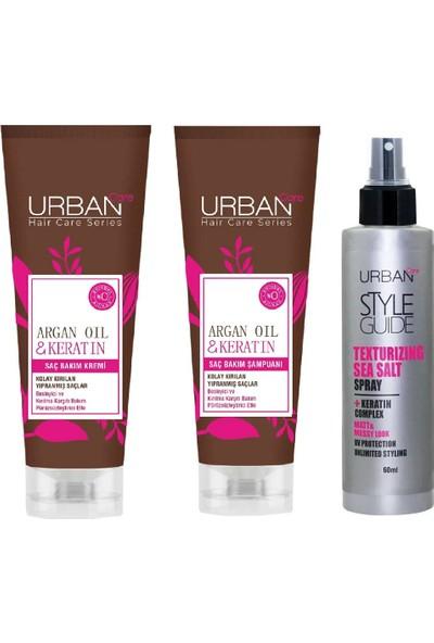 Urban Care Keratin Saç Bakım Şampuanı 250 ml Saç Kremi 250ML Deniz Tuzu Etkili Şekillendirici Sprey 60 ml