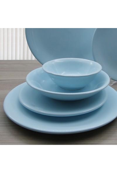 Arna 24 Parça 6 Kişilik Seramik Yemek Takımı-Mavi