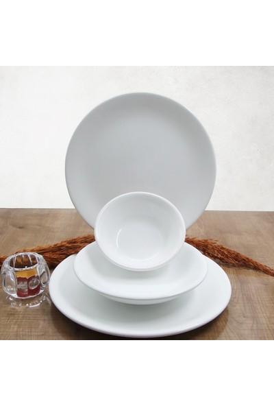 Arna 18 Parça 6 Kişilik Seramik Yemek Takımı-Beyaz