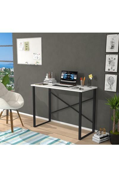 Hepsi Home Metal Beyaz Çalışma Masası Bilgisayar Masası Ofis Ders Yemek Masası