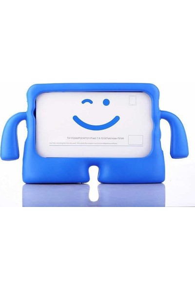 CepLab Apple iPad Mini 5 Kılıf Emoji Standlı Silikon Tablet Kılıfı + Dokunmatik Kalem Mavi