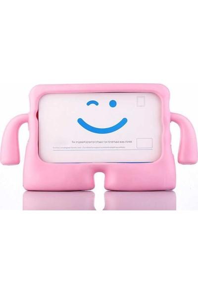 CepLab Huawei Mediapad T5 10.1 Kılıf Emoji Standlı Silikon Tablet Kılıfı + Dokunmatik Kalem Açık Pembe