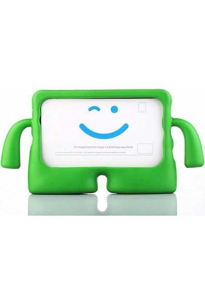 CepLab Samsung Galaxy Tab A 10.1 T517 Kılıf Emoji Standlı Silikon Tablet Kılıfı + Dokunmatik Kalem Yeşil