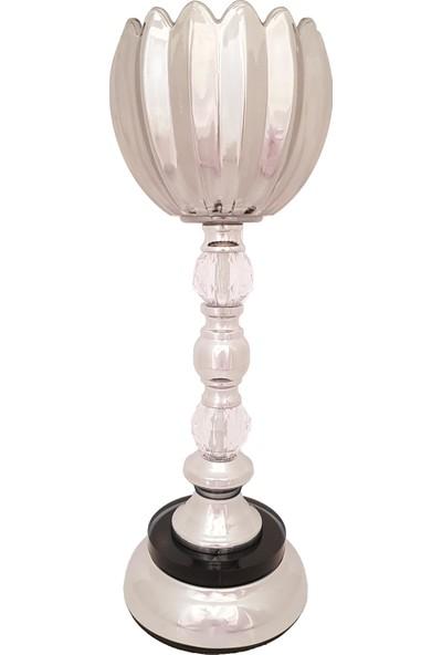 Furkan FRK984A Gümüş Ayaklı Cam Mumluk Dekoratif Salon Aksesuar Seti Füme Cam Şamdan