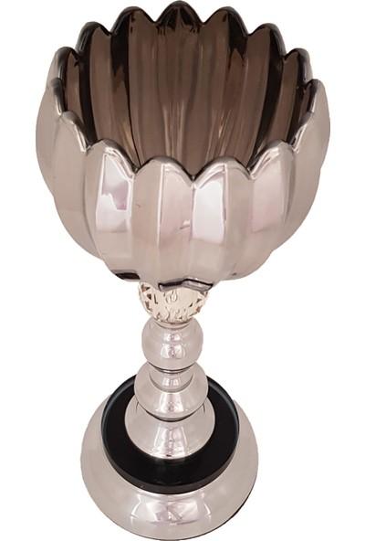 Furkan FRK983A Gümüş Ayaklı Cam Mumluk Dekoratif Salon Aksesuar Seti Füme Cam Şamdan