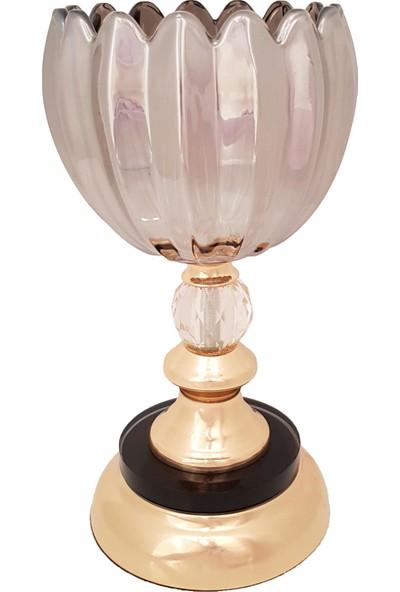 Furkan FRK982 Altın Ayaklı Cam Mumluk Dekoratif Salon Aksesuar Seti Füme Cam Şamdan