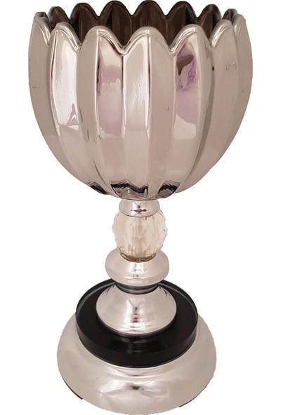 Furkan FRK982A Gümüş Ayaklı Cam Mumluk Dekoratif Salon Aksesuar Seti Füme Cam Şamdan